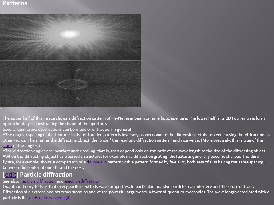 [edit] Particle diffraction